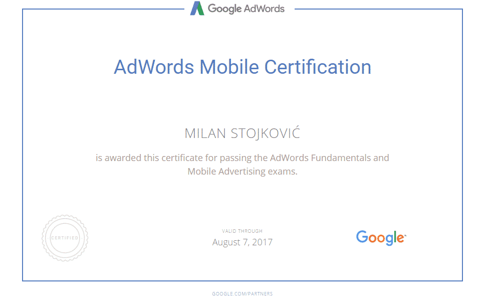AdWords mobile sertifikat milan stojkovic