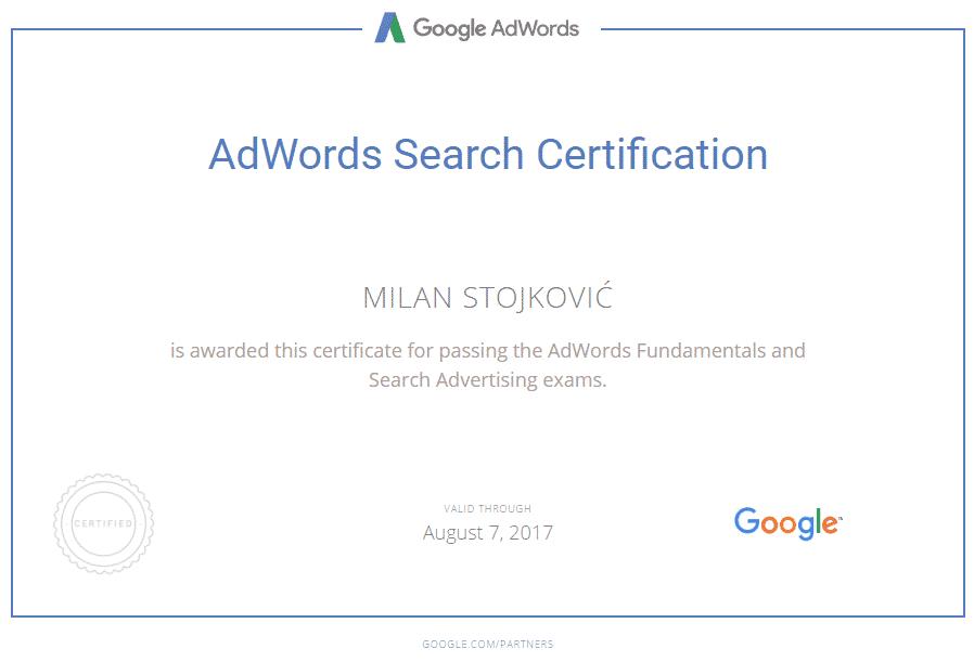 adwords sertifikat milan stojković