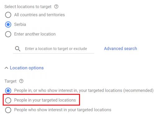 opcije lokacije google ads